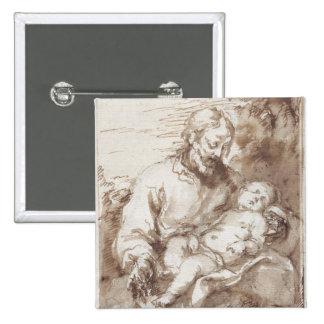San José con el niño durmiente de Cristo (pluma y  Pin Cuadrada 5 Cm