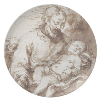 San José con el niño durmiente de Cristo (pluma y  Plato