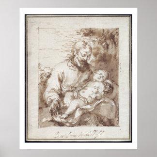 San José con el niño durmiente de Cristo (pluma y  Póster