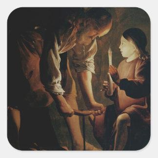 San José, el carpintero Pegatina Cuadrada