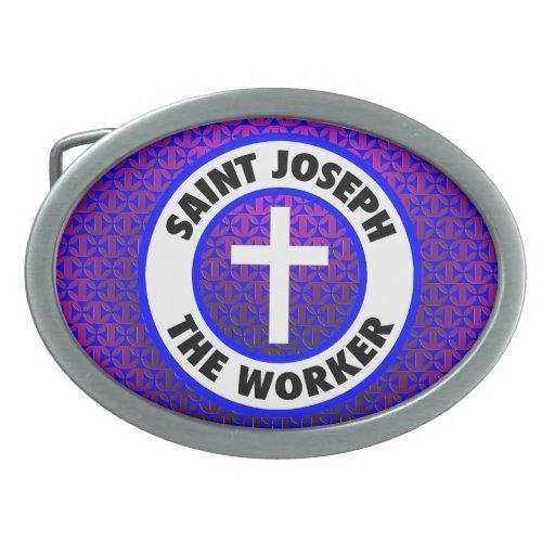San José el trabajador Hebilla Cinturón Oval