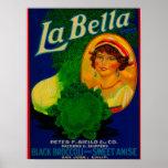 San Jose, etiqueta vegetal de CaliforniaLa Bella Póster