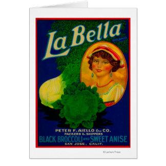 San Jose etiqueta vegetal de CaliforniaLa Bella Felicitaciones