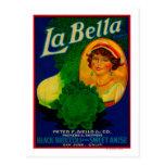 San Jose, etiqueta vegetal de CaliforniaLa Bella Tarjetas Postales