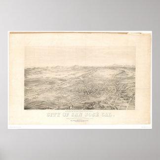 San Jose, mapa panorámico 1869 (1559A) del CA Posters