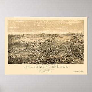 San Jose, mapa panorámico de CA - 1869 Póster