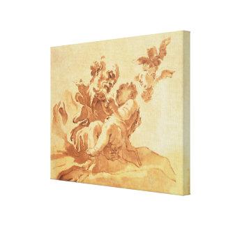 San José que adora al niño de Cristo (pluma, tinta Lona Envuelta Para Galerías