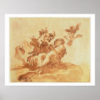 San José que adora al niño de Cristo (pluma, tinta Póster