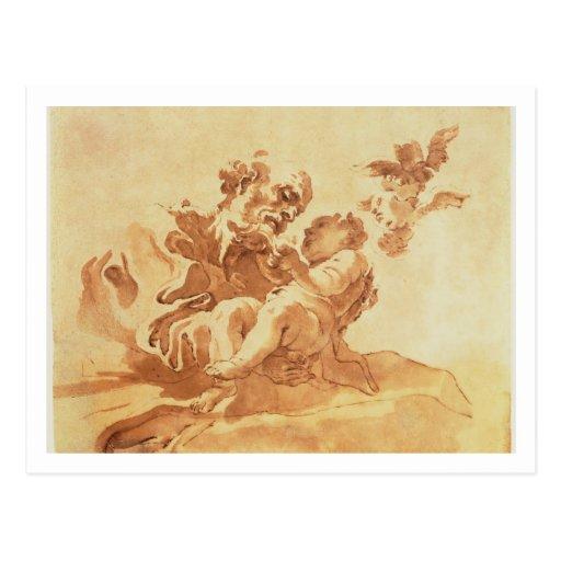 San José que adora al niño de Cristo (pluma, tinta Tarjeta Postal