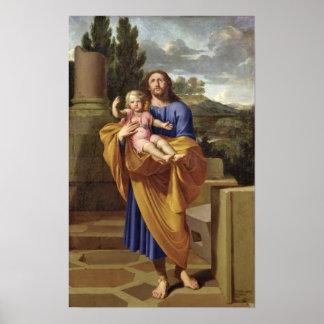 San José que lleva al Jesús infantil, 1665 Póster