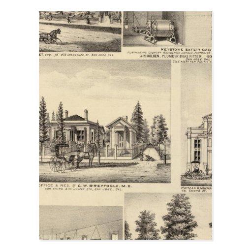 San Jose residences, businesses, college Postcard