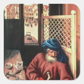 San José retrató como carpintero medieval Pegatina Cuadrada