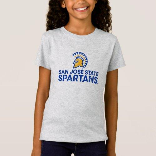 San Jose State Spartans Logo Wordmark Distressed T_Shirt