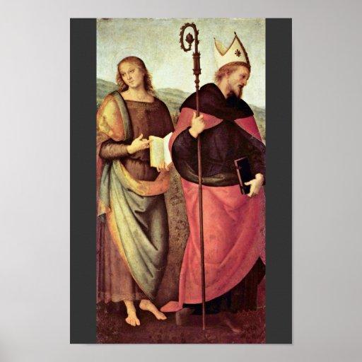 San Juan Bautista y St Augustine por Perugino Póster