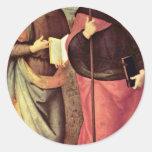 San Juan Bautista y St Augustine por Perugino Etiquetas Redondas