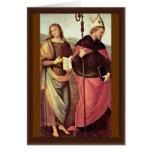 San Juan Bautista y St Augustine por Perugino Felicitación
