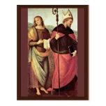 San Juan Bautista y St Augustine por Perugino Tarjeta Postal