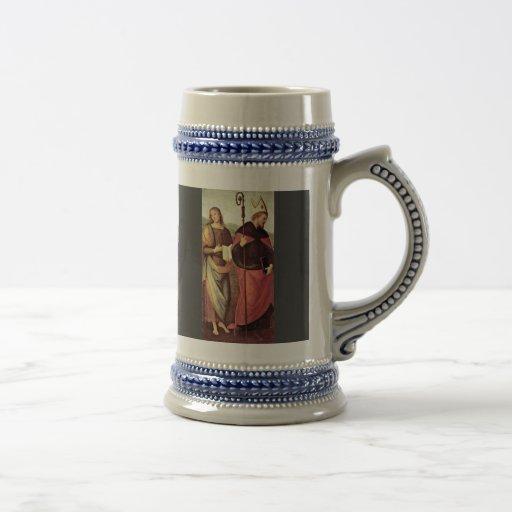 San Juan Bautista y St Augustine por Perugino Tazas De Café