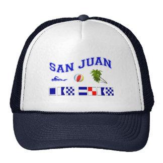 San Juan - deletreo marítimo de la bandera Gorras De Camionero