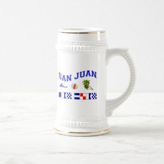 San Juan - deletreo marítimo de la bandera Jarra De Cerveza