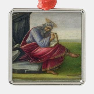 San Juan el divino en Patmos, escribiendo el libro Adorno Navideño Cuadrado De Metal