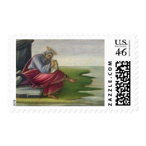 San Juan el divino en Patmos, escribiendo el libro Envio