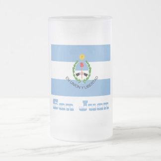 San Juan flag with name Frosted Glass Beer Mug