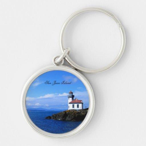 San Juan Island Silver-Colored Round Keychain