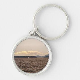 San Juan Islands Sail Silver-Colored Round Keychain