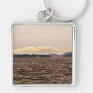 San Juan Islands Sail Silver-Colored Square Keychain