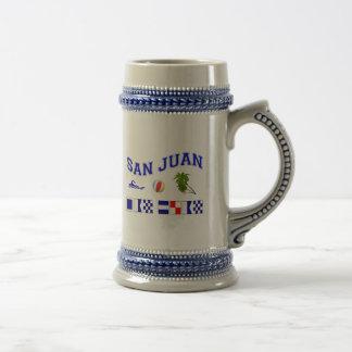 San Juan - Maritime Flag Spelling Beer Stein