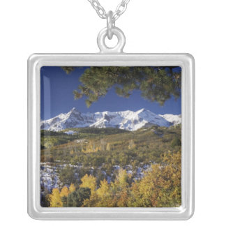 San Juan Mountains and Aspen trees in fallcolor Square Pendant Necklace