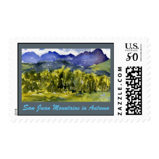 San Juan Mountains in Autumn Watercolor Postage