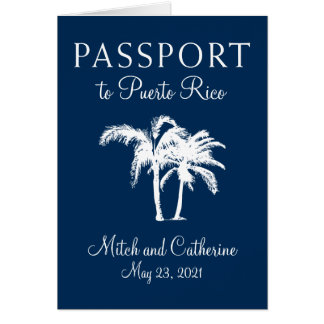 San Juan Puerto Rico Palm Tree Passport Wedding Card