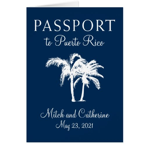 San Juan Puerto Rico Palm Tree Passport Wedding Card Zazzle