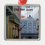 San Juan viejo Adorno Navideño Cuadrado De Metal