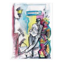 tango, capo, compadrito, guapo, milonga, comic, cartoon, character, argentina, bandoneon, dance, dancing, buenos, aires, patricia, vidour, artistic, creative, slam dancing, slam dance, pavan, saraband, toe dance, stage dancing, hoofing, toe dancing, fictitious character, nauch, nautch dance, courante, nautch, imaginary creature, imaginary being, fine art, pavane, performing artist, ritual dance, social dancing, ritual dancing, aire river, Postcard with custom graphic design