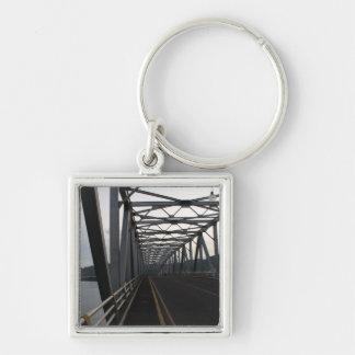 San Juanico Bridge Silver-Colored Square Keychain