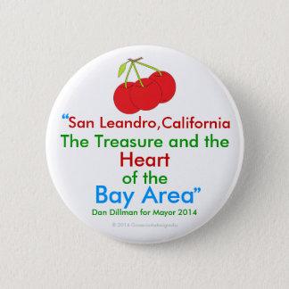 San Leandro, California Treasure Heart of Bay Area Button