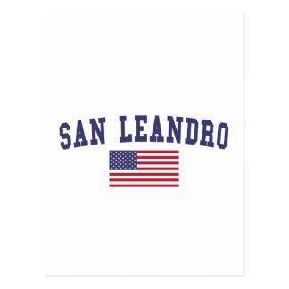 San Leandro US Flag Postcard