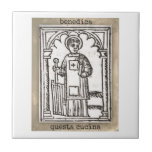 San Lorenzo Kitchen Tile<br><div class='desc'>Patron Saint of cooks in Italy,  San Lorenzo was &quot;grilled alive&quot;,  that is a grill in his hand.</div>