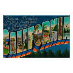 San Luis Obispo, California - Large Letter Scene Print