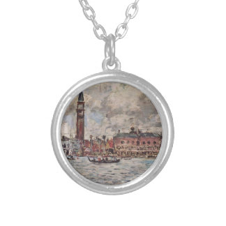 San-Marco square in Venice by Eugene Boudin Round Pendant Necklace