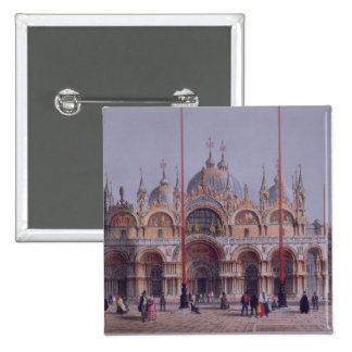 San Marco, Venice, engraved by Brizeghel (litho) Pinback Button
