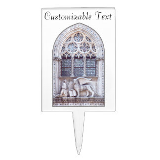 San Marco Winged Lion Stained Glass Window Cake Topper