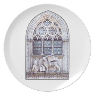 San Marco Winged Lion Stained Glass Window Dinner Plate
