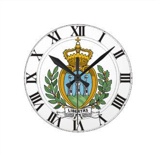 San Marino Coat of Arms Round Wall Clock