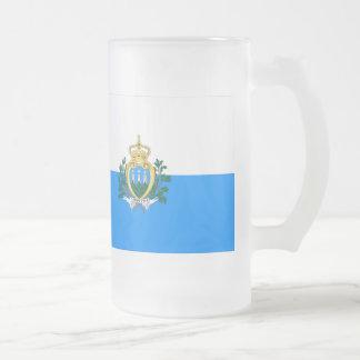 San Marino Flag Frosted Glass Beer Mug