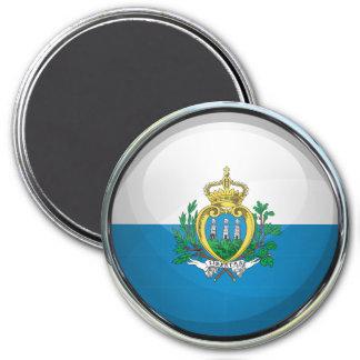 San Marino Flag Glass Ball Magnet