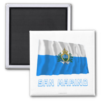 San Marino Waving Flag with Name Magnet